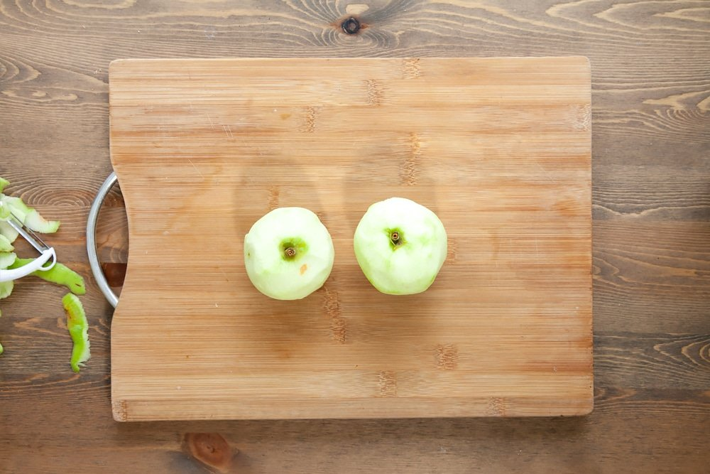 Peeled apples, ready to slice