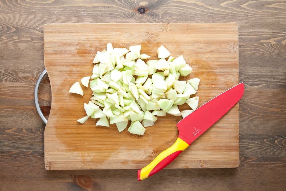 Chopping the apples for the parcel filling