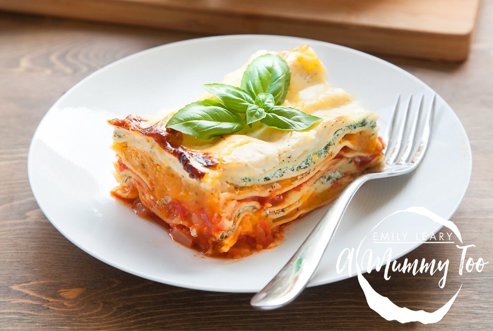 Butternut squash, spinach and ricotta lasagne, shown served and ready to enjoy!