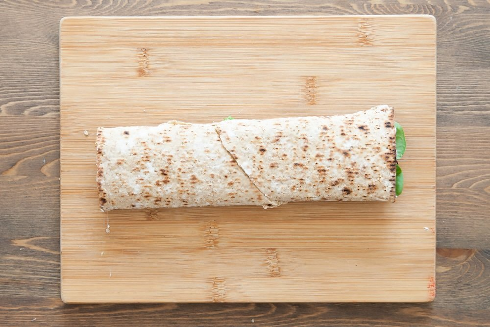 The finished spicy quinoa and bean protein wrap!