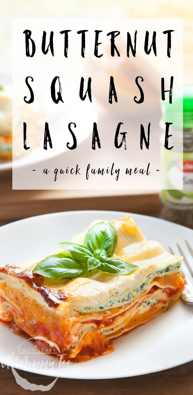 Butternut squash, spinach and ricotta lasagne - a quick family meal that's wonderful in the colder months! #recipe #lasagne