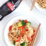 Coca-Cola Zero Sugar tofu and vegetable noodle stir fry