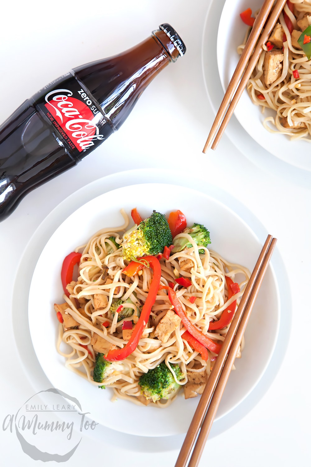 A nutritious tofu and vegetable noodle stir fry, flavoured with Coca-Cola Zero Sugar