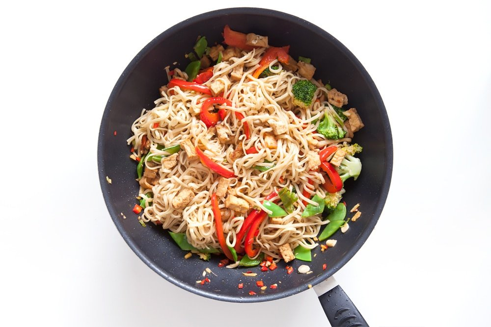 Cooking the tofu and vegetable noodle stir fry