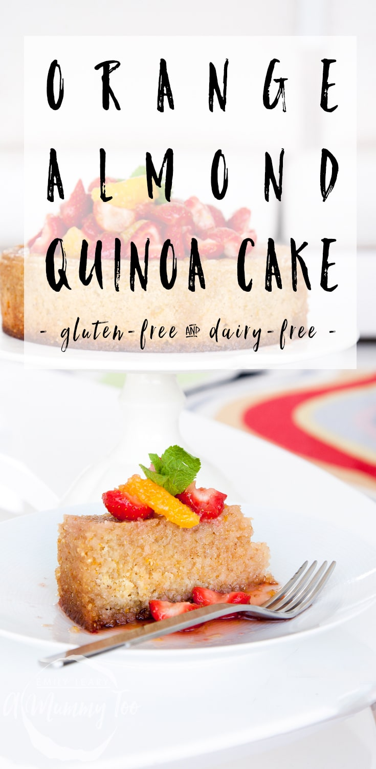 Gluten free and dairy free orange, almond and quinoa cake, made with Pura coconut oil blend #recipe #glutenfree #dairyfree