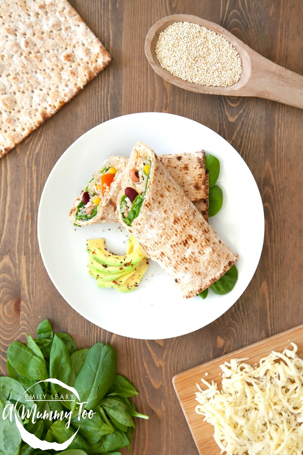 A spicy quinoa and bean protein wrap, served with avocado and chilli flakes to season