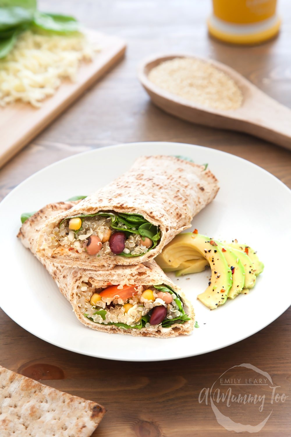 These spicy quinoa and bean protein wrap have just the right amount of spice