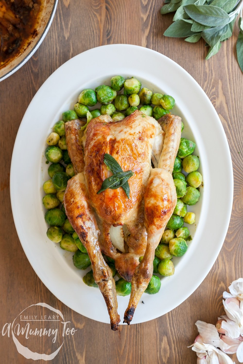 Succulent buttery sage and onion roast chicken served with sprouts
