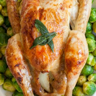 A succulent buttery sage and onion roast chicken (made easier with Bosch PerfectRoast)