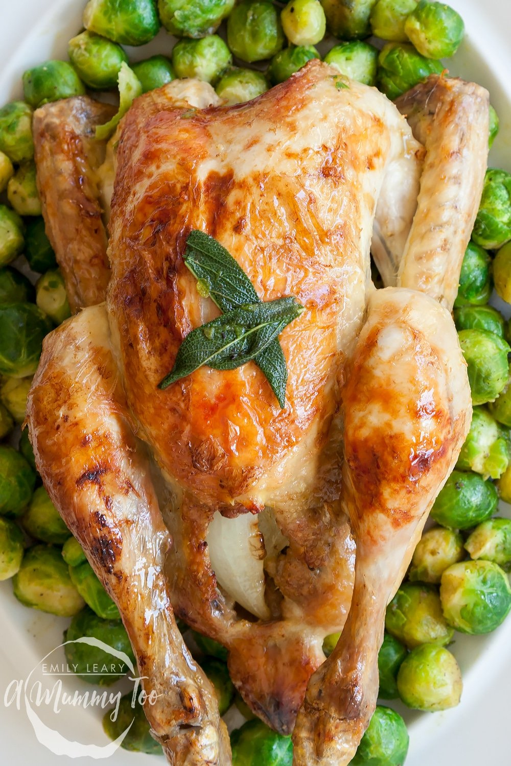 Buttery sage and onion roast chicken