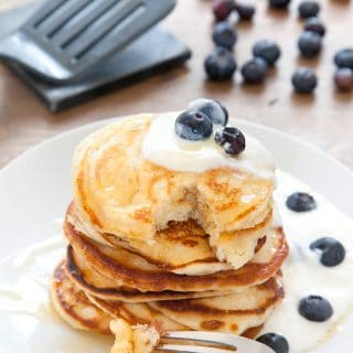 Fluffy, gorgeous coconut yogurt pancakes