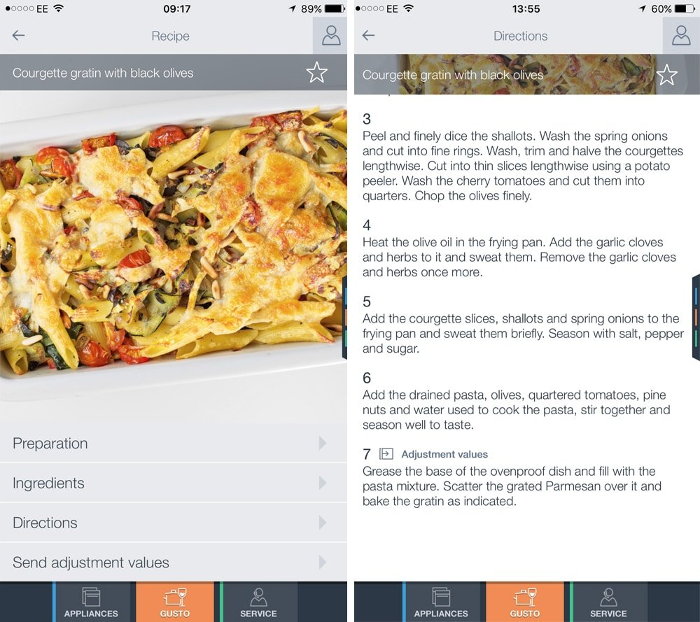 Bosch HomeConnect app showing the courgette and black olive pasta gratin recipe