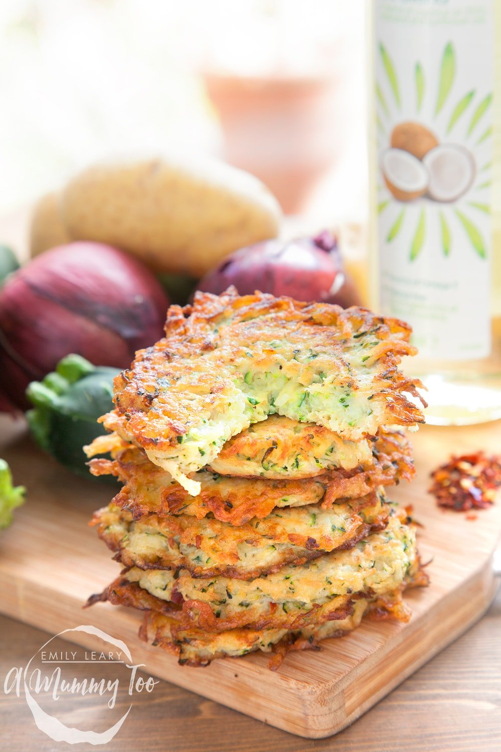 Serve your spicy courgette latkes in a tower and enjoy!