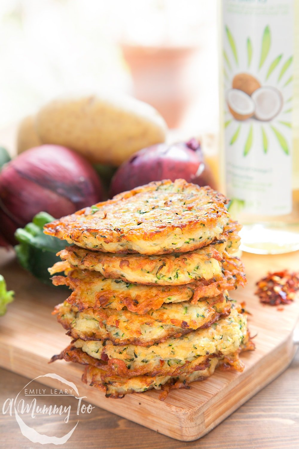 A stack of spicy courgette latkes - a flavourful take on the traditional potato latke