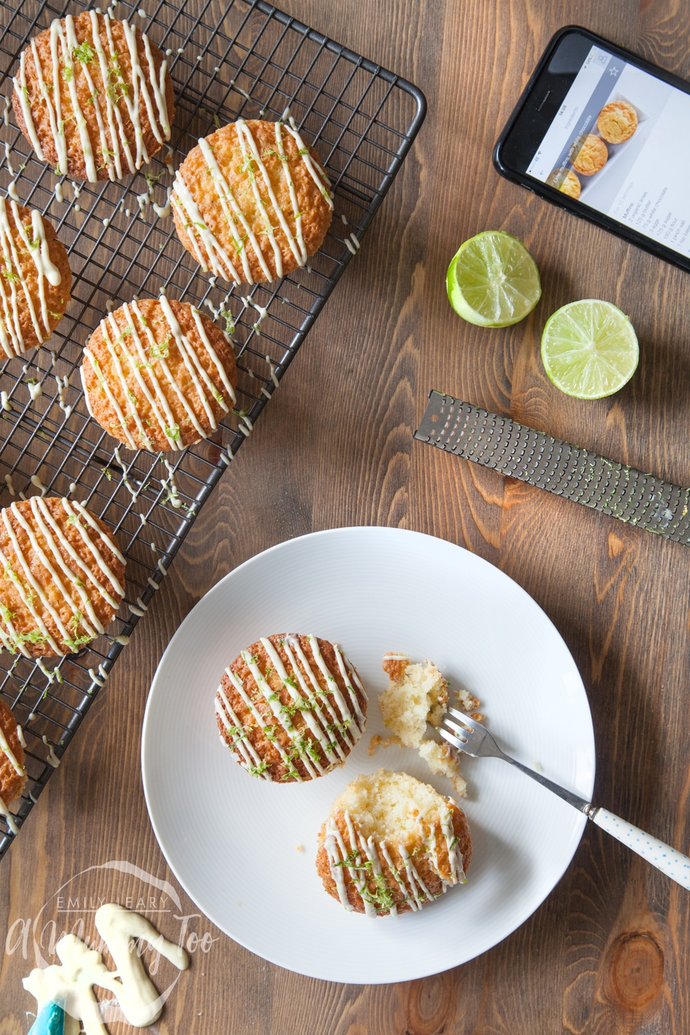 Fruity, delicious lime and white chocolate muffins