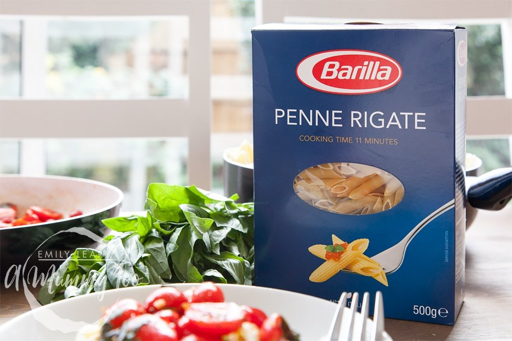 This dish features Barila penne rigate - a high quality textured penne pasta. This box is a 500g box that's used for this cavolo nero recipe.
