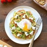 Courgette and whole wheat pasta with poached egg