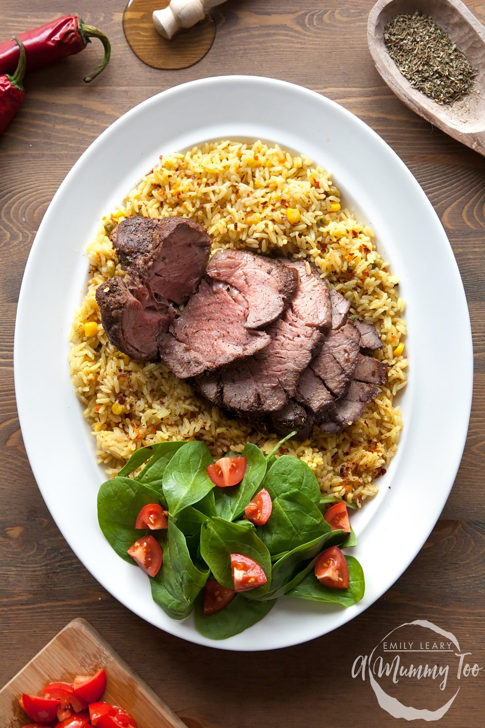 Piri piri beef mini roast - a perfect mid-week roast, served with seasoned rice and side salad