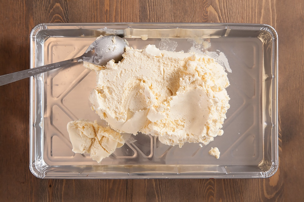 Spoon ice cream into a tray in the first step of this recipe
