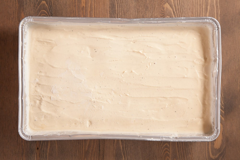Layer of ice cream, ready to cut out to make the ice cream sandwich filling