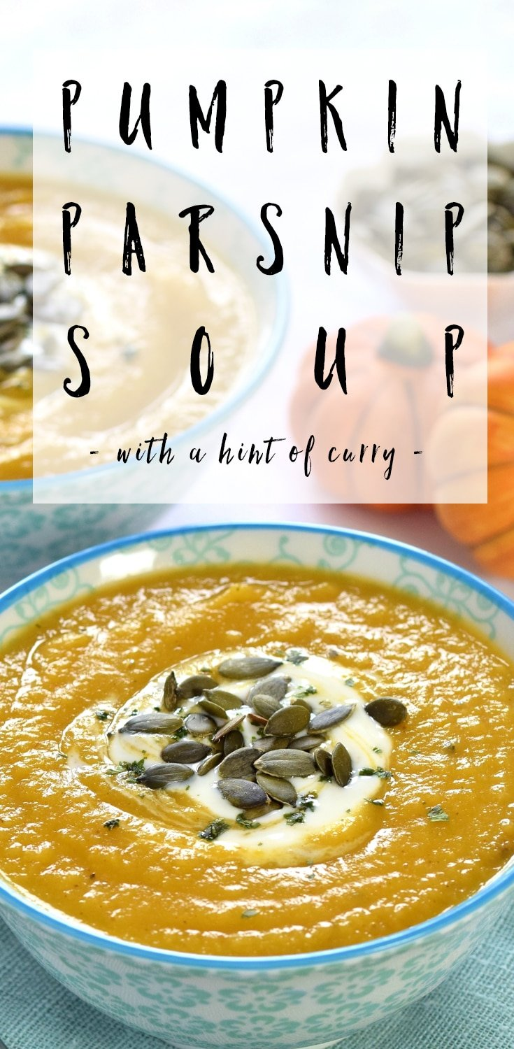 Curried pumpkin & parsnip soup - a deliciously warming soup for a cold winter's day #recipe #soup