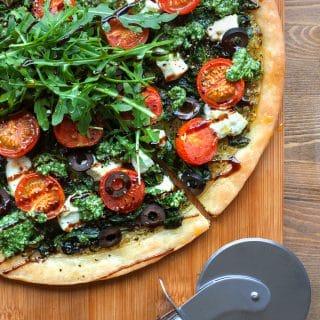 Gluten-free spinach and goat's cheese pesto tart