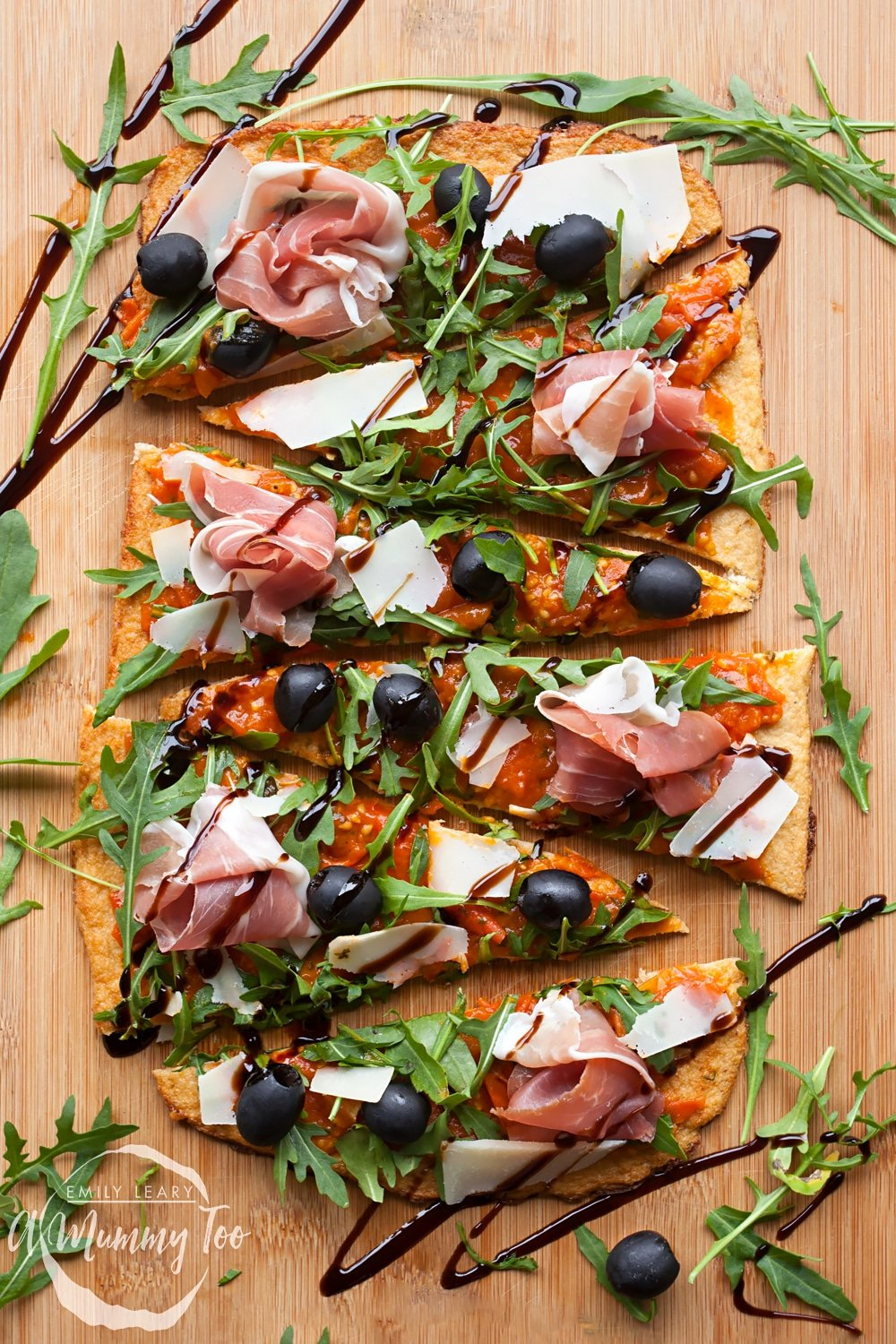 Drizzle balsamic glaze over your Grana Padano and Prosciutto di San Daniele cauliflower crust pizza to finish, serve and enjoy!