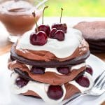 Ultra-decadent black forest pancake stack, using Betty Crocker Gluten Free Devil's Food Cake mix