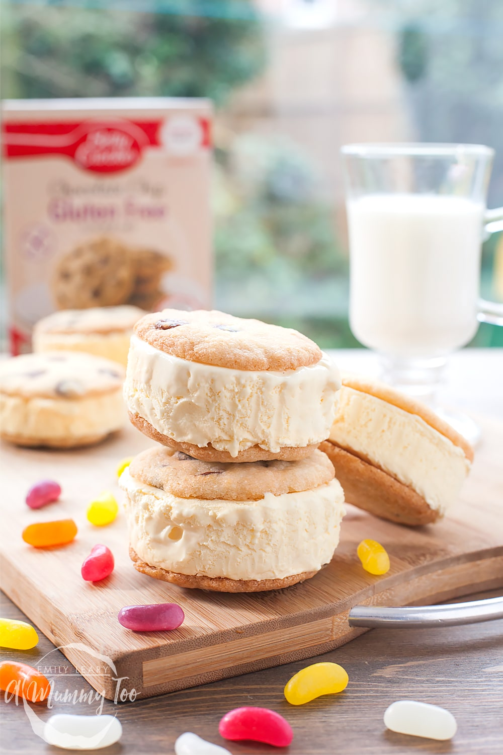Gluten-free ice cream sandwiches made using Betty Crocker Gluten-Free Chocolate Chip Cookie Mix - served with jelly beans!