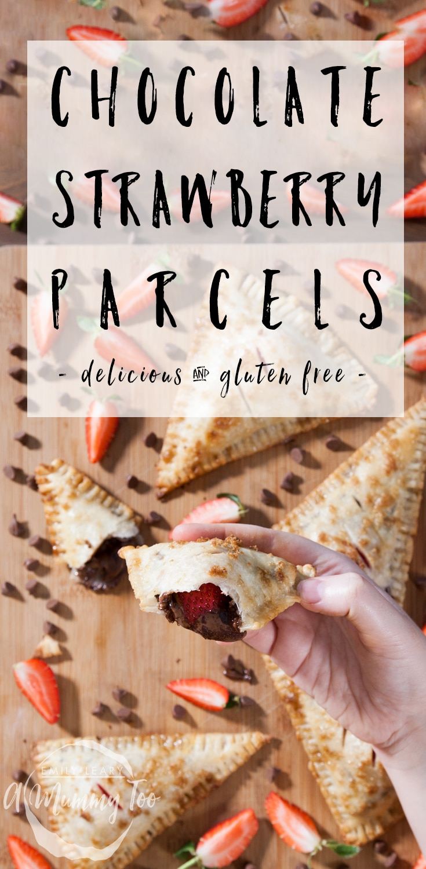 Gluten-free chocolate and strawberry parcels - a delicious, gooey gluten-free treat! #recipe #glutenfree #dessert