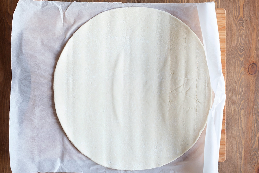 The Jus Rol gluten-free puff pastry, rolled out ready to make the tart base