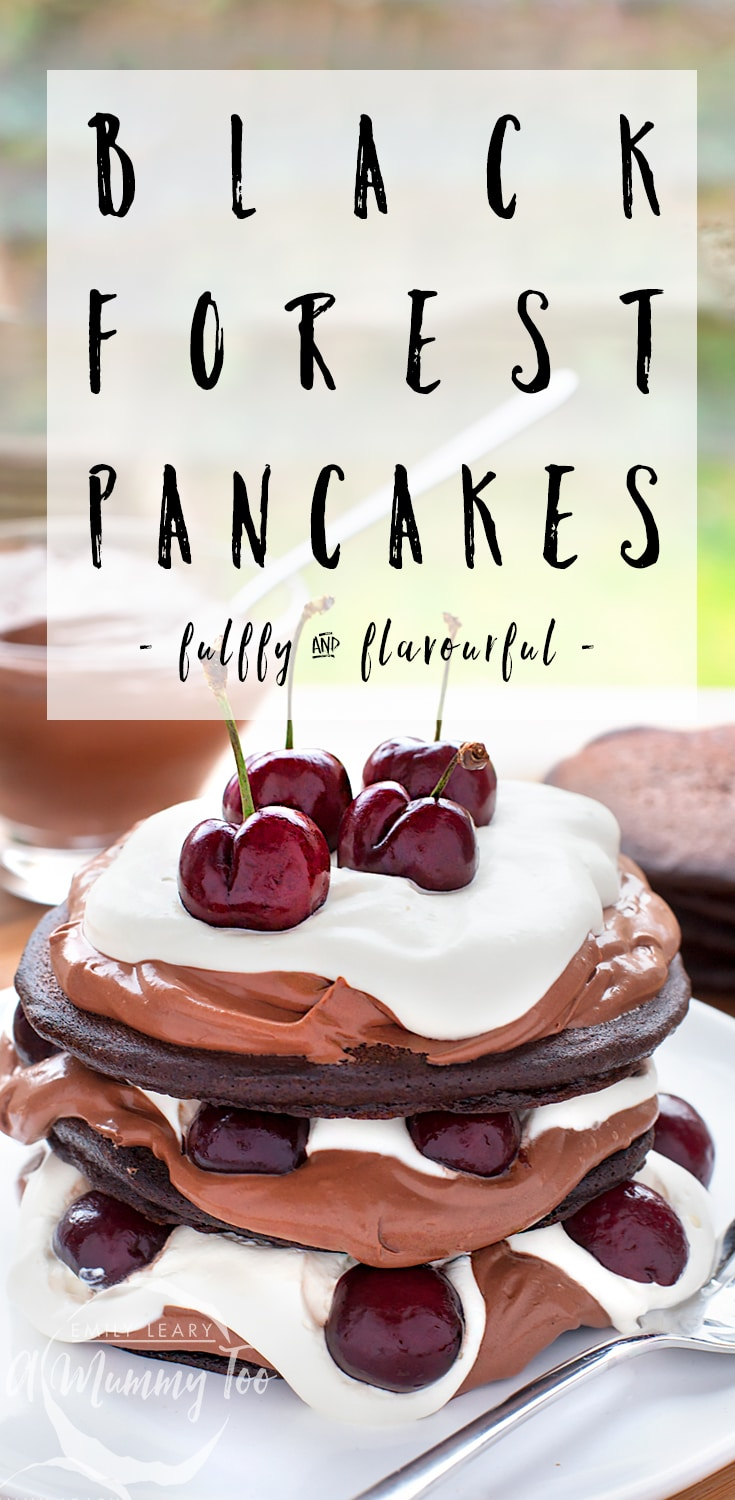 Ultra-decadent black forest pancake stack, using Betty Crocker Gluten Free Devil's Food Cake mix - a fluffly, flavourful and decadent dessert that's gluten free! #recipe #glutenfree #pancakes