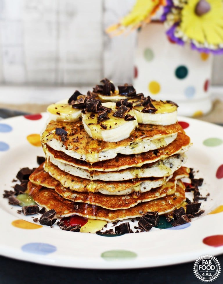 Gluten Free Chocolate Chip Pancakes by fab food 4 all
