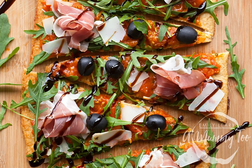 This Grana Padano and Prosciutto di San Daniele cauliflower crust pizza is low carb, thanks to the cauliflower base!
