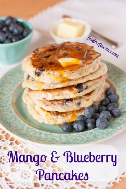 Mango and blueberry american pancakes by fuss free flavours