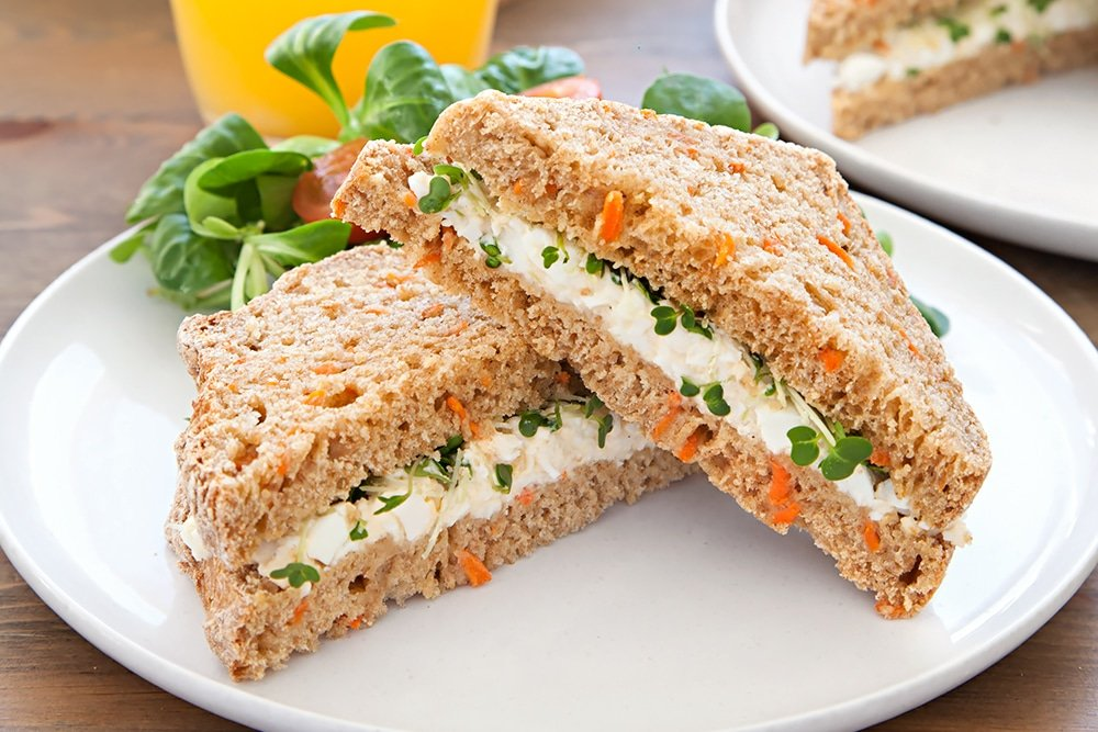The finished home-grown carrot soda bread egg and cress sandwiches, ready to eat or be packed in foil ready for a packed lunch!