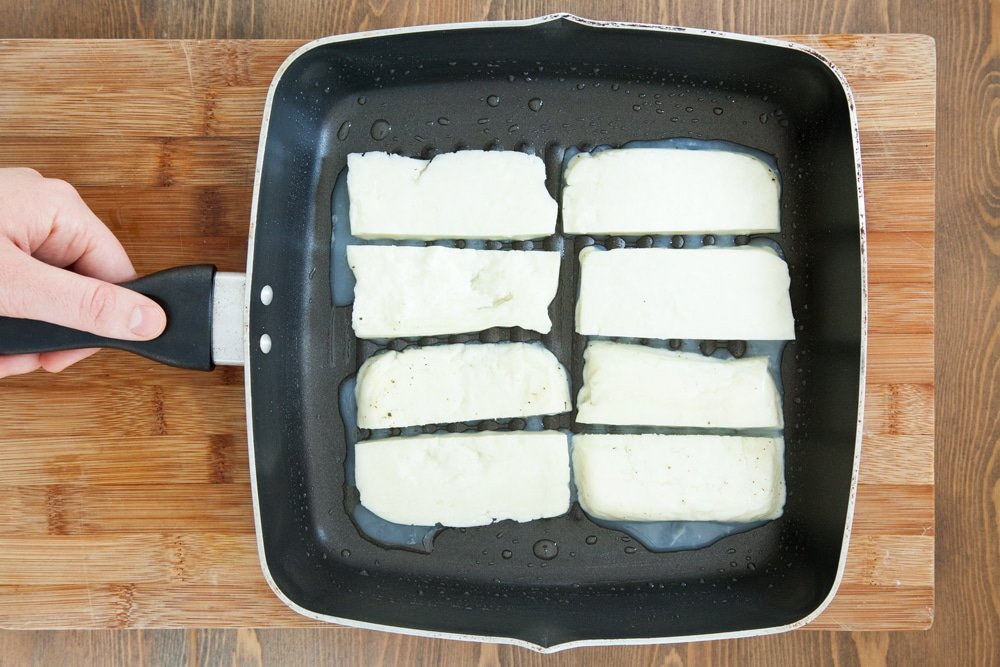 Frying halloumi on a griddle pan