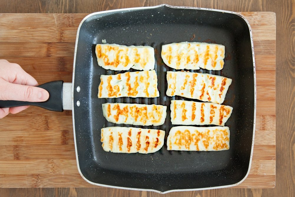 Griddled halloumi, ready to top our gluten-free meze-inspired crumpets