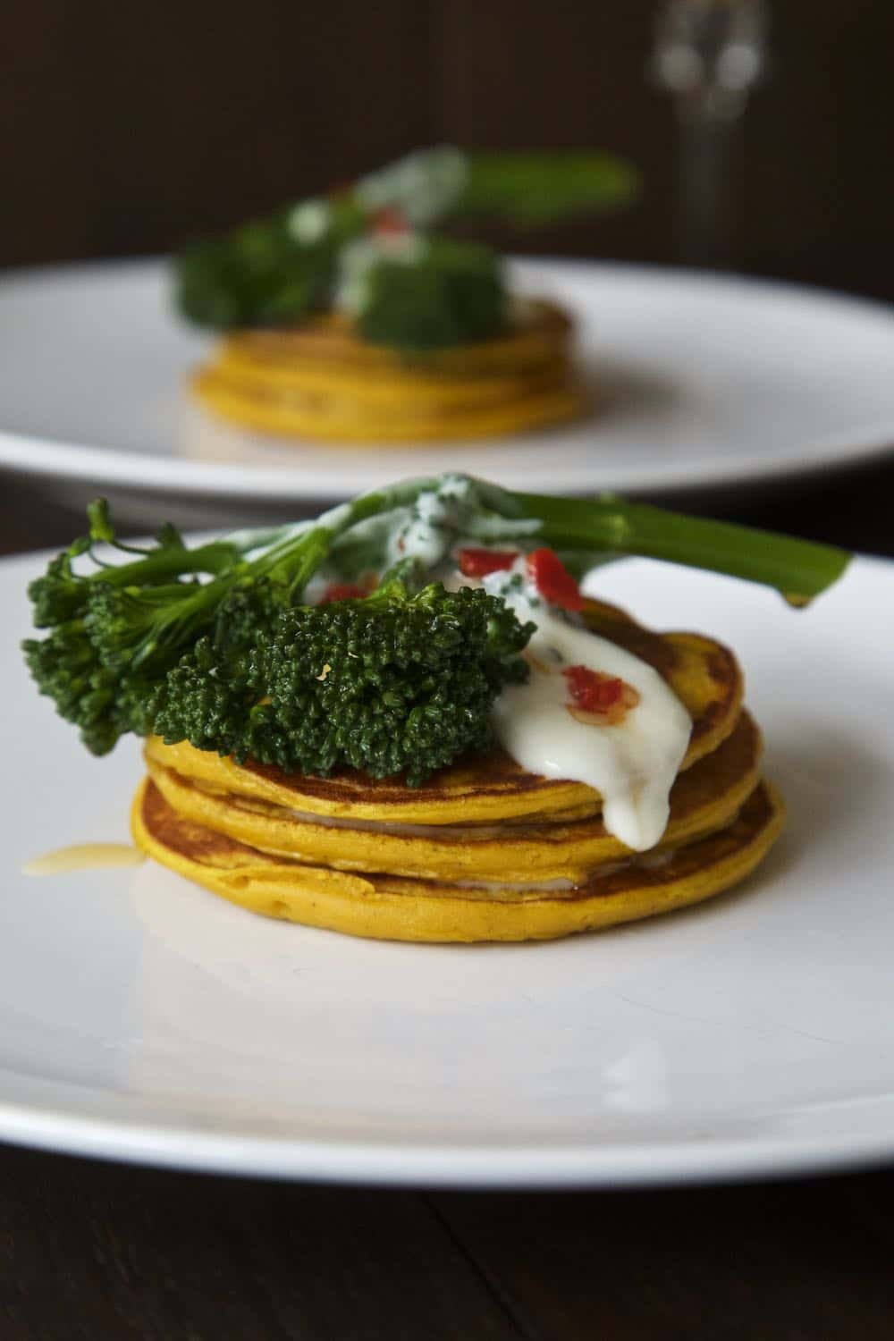 pumpkin pancakes with chilli fired tenderstem broccoli by thinly spread