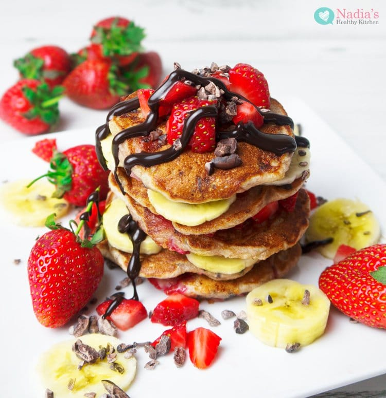 strawberry chocolate chip vegan pancakes by nadia's healthy kitchen