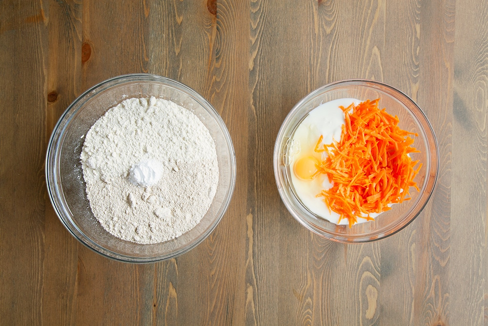 Mixing the dry and wet ingredients in separate bowls, to make the dough for the carrot soda bread