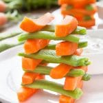 Home-grown carrot and runner bean towers with mint yogurt dip (cooking with kids)