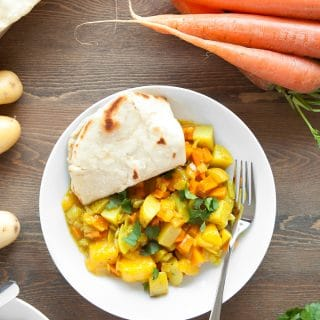 Home-grown carrot and mango curry with home-made spices and 5 minute naan bread (cooking with kids)