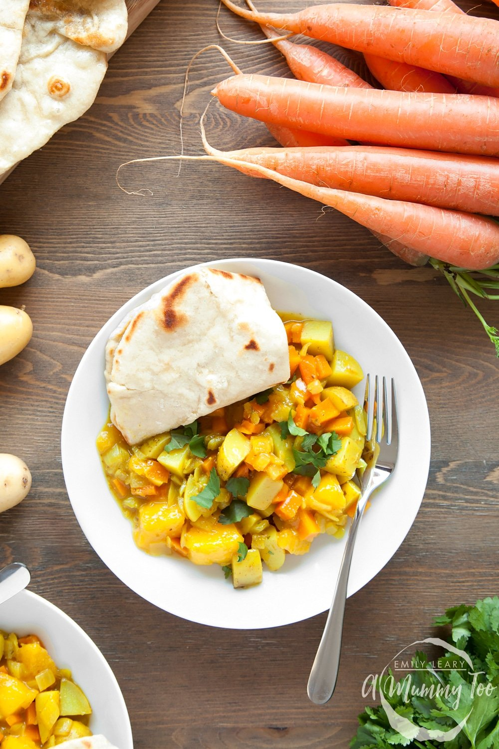 Serve this tasty home-grown carrot and mango curry with home-made spices with naan bread and enjoy!