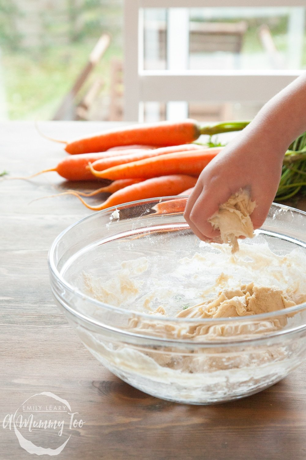 Children can mix the naan bread dough with their hands - it's lots of fun!