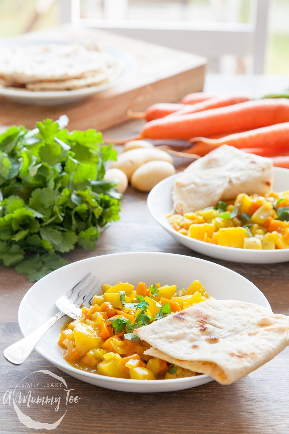 Home-grown carrot and mango curry with home-made spices and 5 minute naan bread - a delicious meal that kids can get involved with cooking!