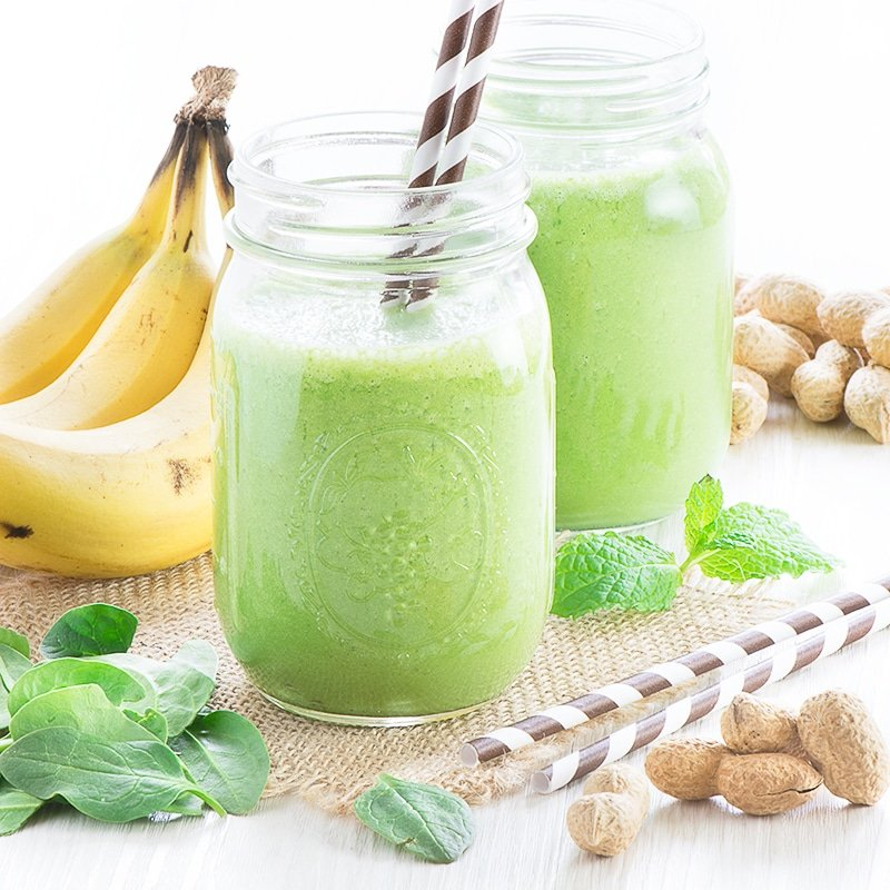 Banana, Peanut Butter and Mint Green Smoothie by Charlotte's Lively Kitchen
