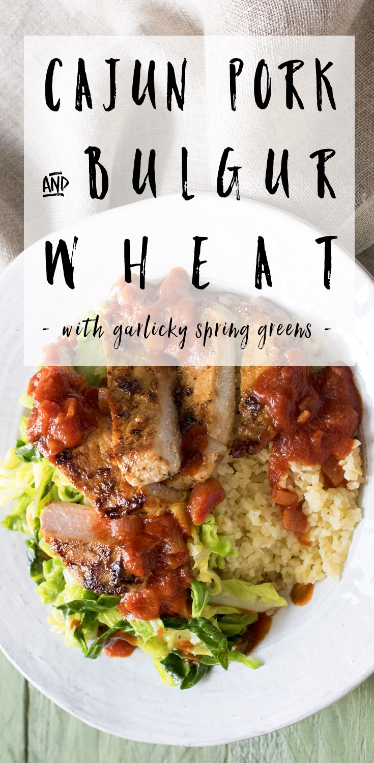 Cajun pork with bulgur wheat and garlicky spring greens - a HelloFresh recipe #recipe #HelloFresh