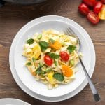 Tagliatelle with tricolour tomatoes, edamame and mint