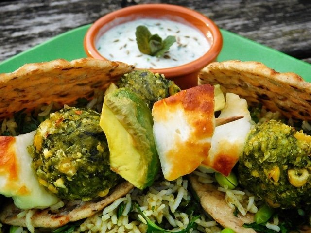 Super Greens, Halloumi and Avocado Skewers with Thai Green Rice by Foodie Quine